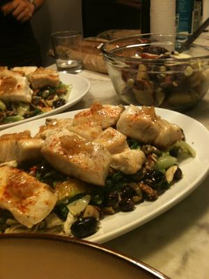 Oven roasted striped bass