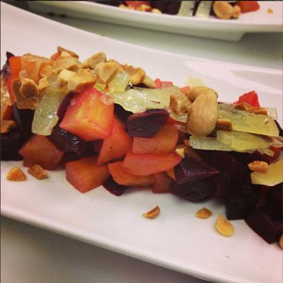 Red and yellow beets with marcona almonds and lemon supremes