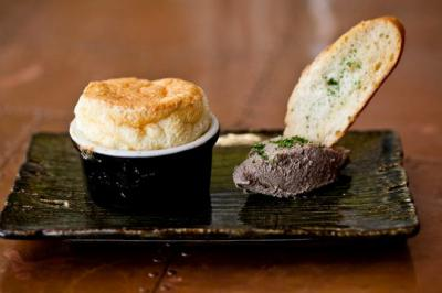 Duck heart souffle with duck pate