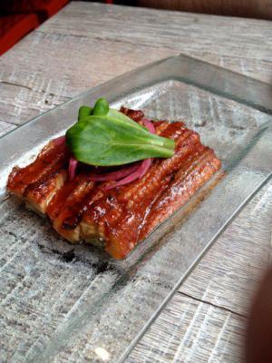 Eel marinated in orange marmalade