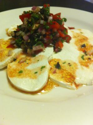 Fresh mozzarella with tomato cilantro cumin salsa
