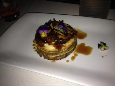 "WIld mushroom and fresh mozzarella ""lasagna"" with edible flowers"