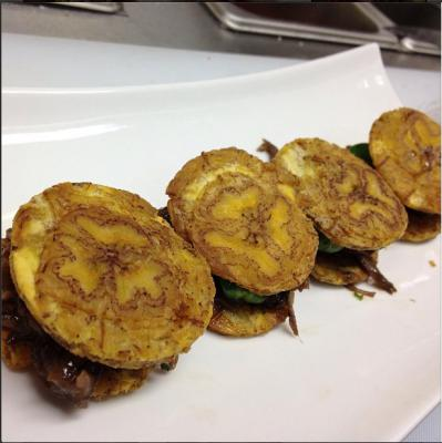 Oxtail tostones sliders